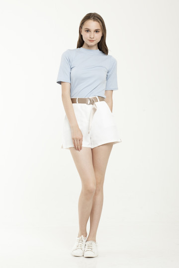 Lara Gold Belted Short - White
