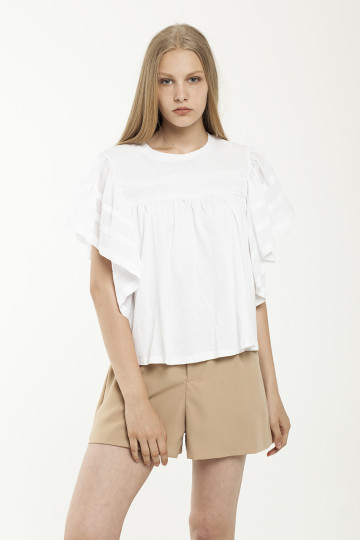 Sacha Frills Sleeve Top - White