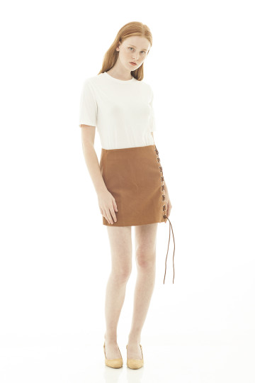 Celine Suede Side Eyelet Skirt - Khaki
