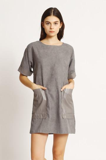 Kirana Leather Pocket - Grey
