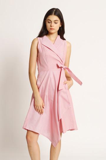 Cecil Stripe Asym Dress - Red