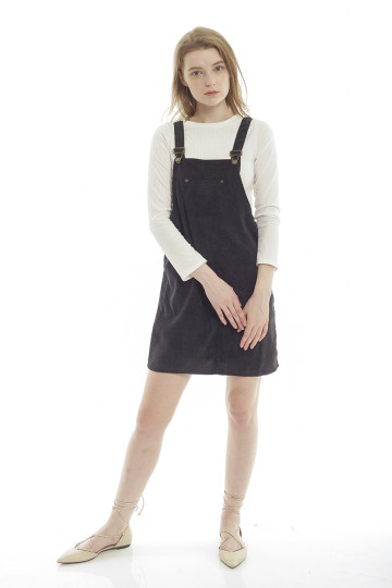 Evelyn Corduroy Overall - Black