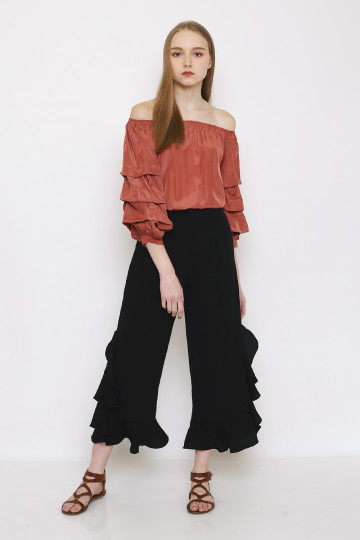 Maggie Frills Pants - Black