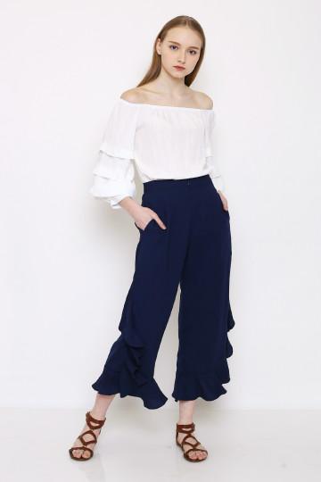Maggie Frills Pants - Navy