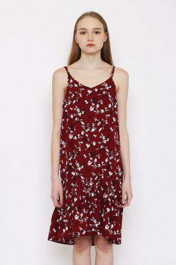 Marion Floral Tank Dress - Maroon Floral
