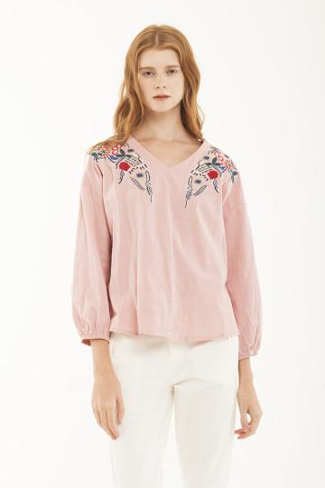 Bonita Floral Embro Top - Blush