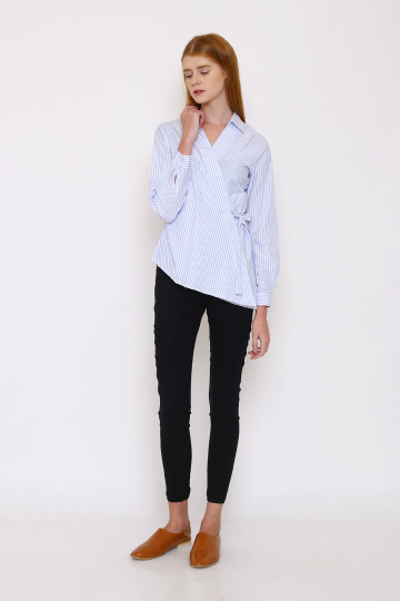 Terry Stripe Tied Shirt - Sky
