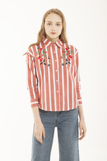 Joy Stripe Embro Shirt - Blush