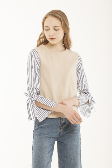 Jane Stripe Sleeve Top - Creme