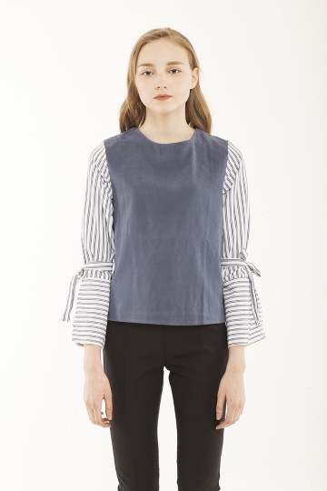 Erin Stripe Sleeve Top - Blue