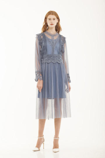 Catherine Lace Dress - Blue