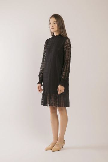 Wanda Lace Hi-Neck Dress - Black