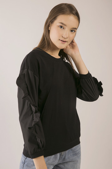 Maia Frills Sleeve Top - Black
