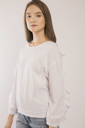 Maia Frills Sleeve Top - White