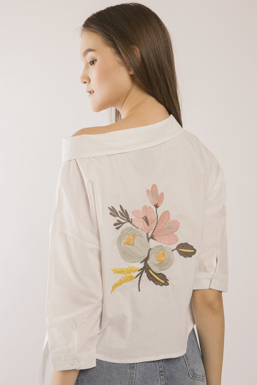 Moira Floral Embro Top - White