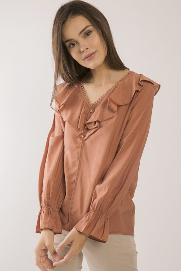 Jacy Trimmed Top - Terracota