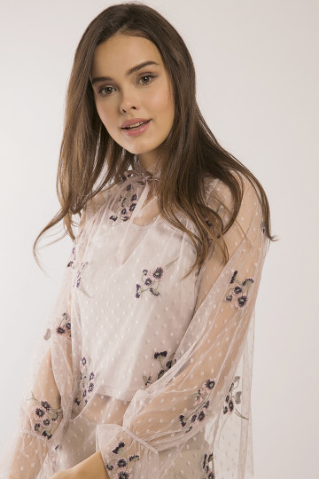 Darcy Floral Embro Tulle Top - Dusty Pink