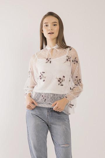 Darcy Floral Embro Tulle Top - White
