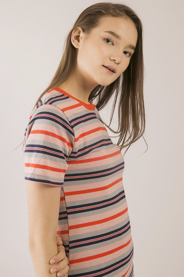 Gwen Stripe Tee - Orange