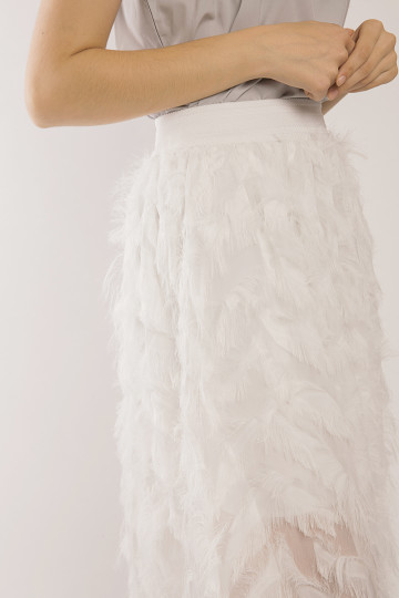 Sophia Fuzzy Skirt - White