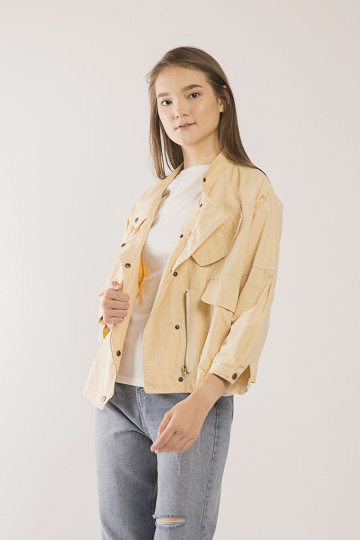 Raine Button- Front Jacket - Cream