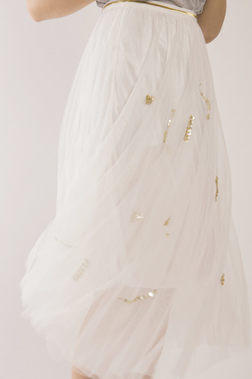 Madeleine Gold Sequin Skirt - White