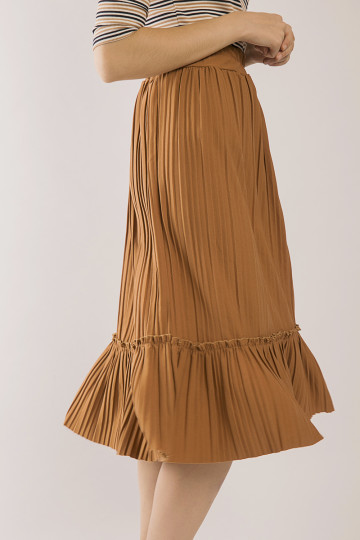 Tammy Accordion Pleats Skirt - Brown