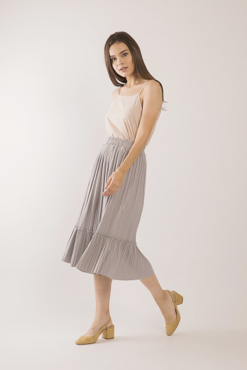 Tammy Accordion Pleats Skirt - Grey