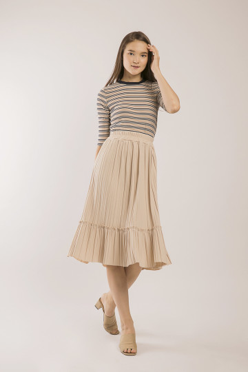 Tammy Accordion Pleats Skirt - Cream