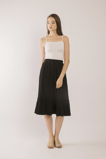 Tammy Pleats Accordion Skirt - Black
