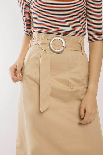Tonya Buckle Skirt - Cream
