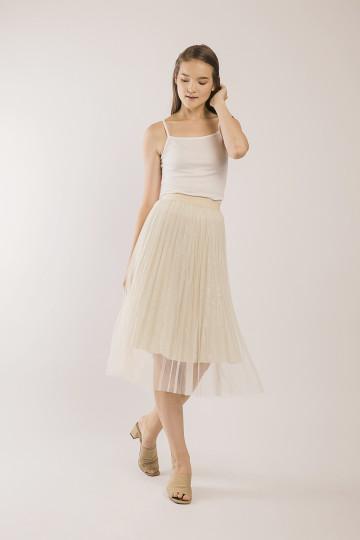 Kila Glitter Tulle Skirt - Ivory