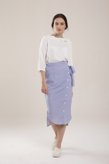 Felicity Stripe Asym Skirt - Blue