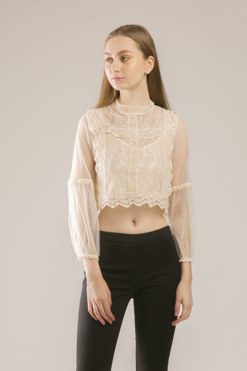 Laila Victorian Lace Top - Ivory