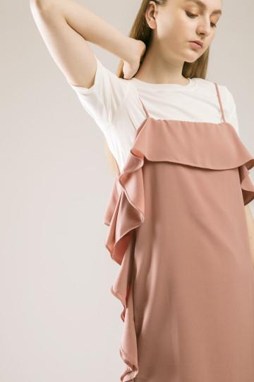 Elaine Ruffles Dress Set - Hazelnut