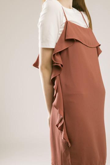 Elaine Ruffles Dress - Terracota