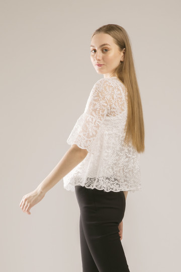 Kendal Leaves Embroidery Top - White