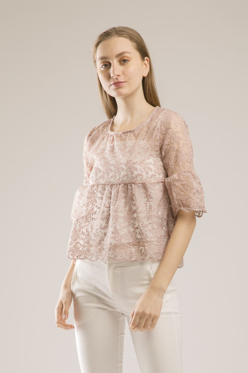 Kendal Leaves Embroidery Top - Brown