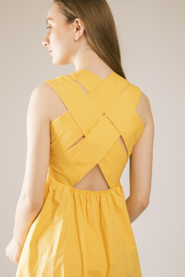 Hailey Cross Back Dress - Yellow