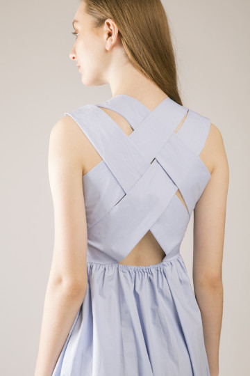 Hailey Cross Back Dress - Blue