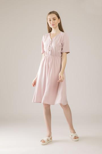 Ellie Shoulder Pleated Dress - Pink