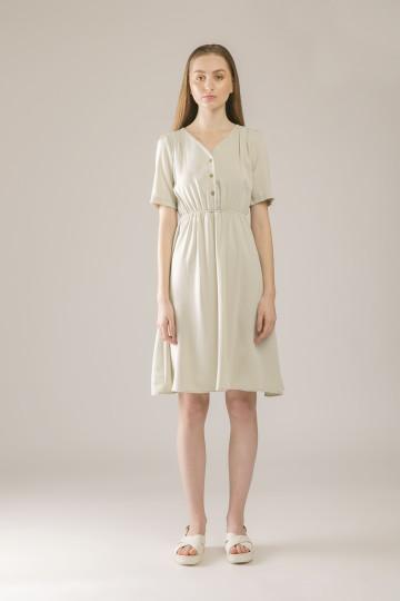 Ellie Shoulder Pleated Dress - Mint