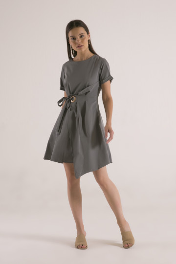 Jennifer Pleats Dress - Grey