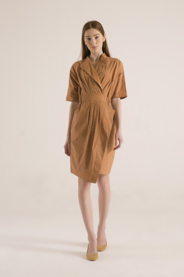 Selena Pleats Dress + Belt - Brown