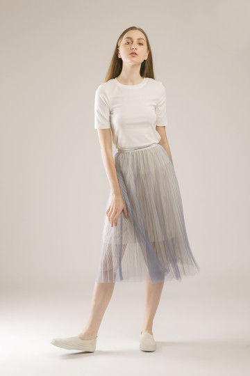 Julia Tulle Stripe Skirt - Cream Blue
