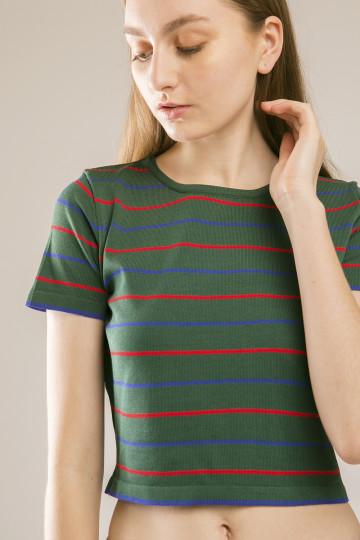 Zara Tee Crop Stripe - Green