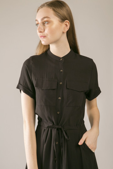 Katty Double Pocket Shirt Dress - Black