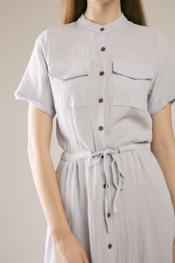 Katty Double Pocket Shirt Dress - Blue