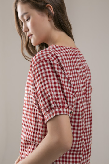 Elina Gingham Top - Red