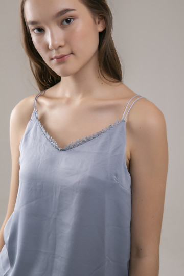 Natalie Lace Trimmed Tank - Grey